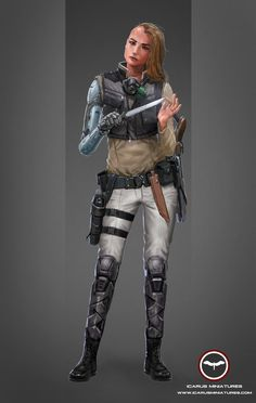 Kara Mariasha, ex-Alliance officer and Mercenary leader.  Learn More: http://icarusminiatures.com/concept-art-preview-kara-mariasha/