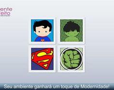 4 Quadros Decorativos Heróis com moldura