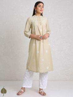 Buy Beige White Chikankari Handloom Khadi Kurta by Jaypore Cotton Women Kurtas Online at Jaypore.com