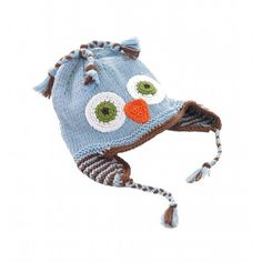 Blue Handmade Cotton Owl Baby Hat - Peddle