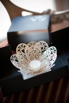 Delicate laser cut flower votive... part of our handmade invitations :)