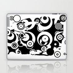 Retro Circles Black and White Laptop & iPad Skin by Fine2art - $25.00