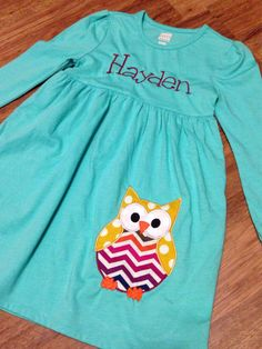 Adorable Owl monogrammed dress for girls. Your little girl would look adorable with this design! Made with Fall colored fabric.
