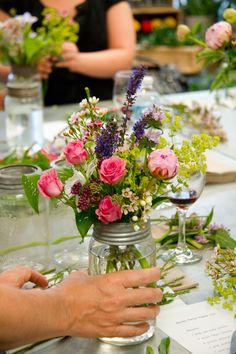 Garden flowers in mason jar - fit for any garden party!