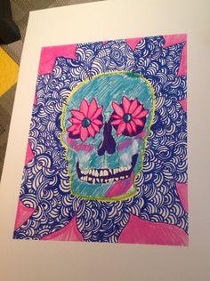 Killing Me Softly on Etsy, $10.00 #art #decor #dorm #bedroom #skull #flowers #bright