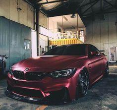 BMW F82 M4 burgundy slammed