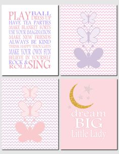 Playroom Rules and Butterflies - Nursery Art Kids Wall Art Pink Lavender Purple by vtdesigns