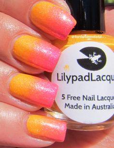 Lilypad Lacquer gradient using Mango Buzz, Tarty Tangerine, and Bubblegum Fizz