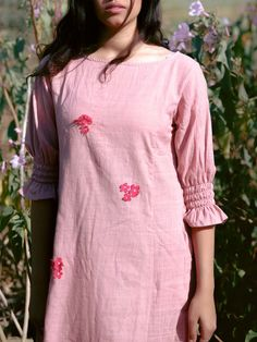 Buy Pink Applique Embroidered Khadi Cotton Dress online at Theloom