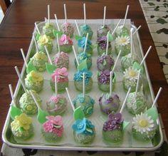 Green Cake Pops with Yellow, Pink, Aqua, Purple & White Flowers