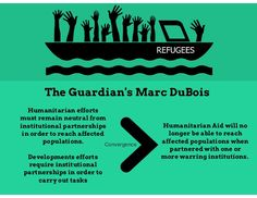 The Guardian's Marc DuBois Humanitarian efforts must remain neutral from institutional partnerships in order to reach affected populations. Developments efforts require institutional partnerships in order to carry out tasks Humanitarian Aid will no longer be able to reach affected populations when partnered with one or more warring institutions. Convergence #humaitarianaid #foreignaid