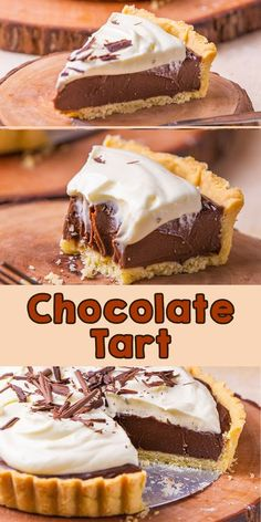 Rich, decadent, and creamy chocolate tart! It is easy to prep for your best homemade dessert. No one can't argue the combination of pastry crust and chocolate filling. It is so yummy even in a bite! Tart Recipes, Best Dessert Recipes, Cupcake Recipes, Easy Desserts, Baking Recipes, Delicious Desserts, Yummy Food, Celiac Recipes, Yummy Yummy