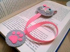 Felt cat bookmark black cat bookmark white cat bookmark