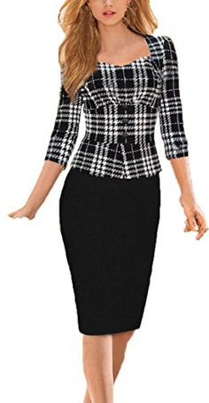 YEEZ Womens 34 Sleeves Plaid Peplum Business Bodycon Fitted Pencil DressBlack XLarge *** Check this awesome product by going to the link at the image.
