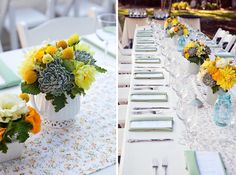 Each of the crisp white linens on the reception tables were lined with custom made runners and squares with fabric purchased from the fabric district in Downtown LA, in either bright country checkers and country flower prints.