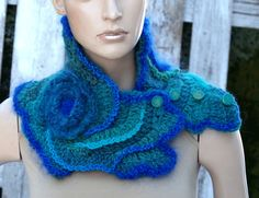 Crochet Scarf Capelet Neck Warmer Freeform crochet by Degra2