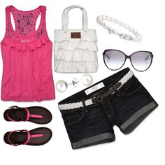 """Abercrombie & Fitch outfit [Pink & White]"" by stay-at-home-mom on Polyvore"