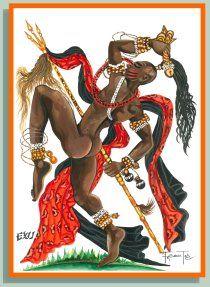 Exú ou Esu é o guardião dos templos, encruzilhadas, passagens, casas, cidades e das pessoas, mensageiro divino dos oráculos. - linhadasaguas.com.br Afro, Samba, Orishas Yoruba, Papa Legba, Yoruba People, Butterfly Cross Stitch, African Diaspora, Black Art, Red Black