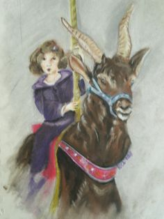 Marcella on a carousel Pastel on high rag paper