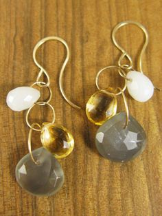 Citrine, opal, and grey moonstone earrings.  Cool contrast!