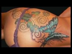 Replace the butterflies with turtles body art for Tattoos on stomach to cover stretch marks