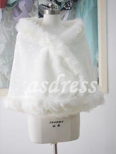 White Faux Fur Bridal Wrap Shrug Stole Cape wedding by ASDRESS