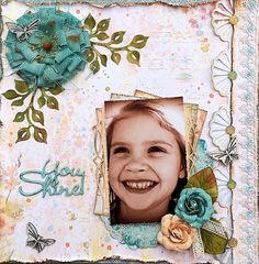 ~Swirlydoos Kit Club~ You Shine - Scrapbook.com - Layers, paste, distressing and more add texture and dimension to this beautiful layout.