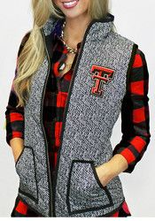Texas Tech Red Raiders Gameday Couture Womens Grey Herringbone Quilted Vest Sleeveless Jacket