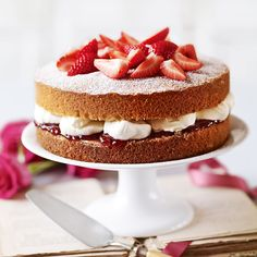 Lorraine Pascale's Victoria Sandwich, a delicious recipe in the new MS app. Chef Recipes, Dessert Recipes, Lorraine Recipes, Victoria Sponge Cake, Sweet Bakery, Serving Dishes, Let Them Eat Cake, So Little Time, Yummy Cakes