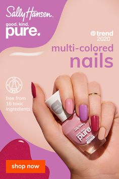 Explore the multi-colored nail trend with Sally Hansen's new GOOD. It's plant based and vegan. Tap the Pin to discover 30 beautiful shades. Acrylic Nails Coffin Pink, Simple Acrylic Nails, Almond Acrylic Nails, Nude Nails, Natural Hair Loss Treatment, Oil For Hair Loss, Broken Nails, Sally Hansen Nails, Essential Oils For Hair