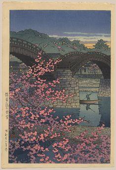 """Spring Evening at the Kintai Bridge"" by Hasui, Kawase"