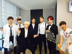 →bts in their costumes at music center