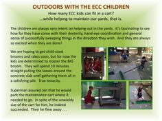 OUTDOORS WITH THE ECC CHILDREN: So much to give and so much tenacity...our little yard helpers.