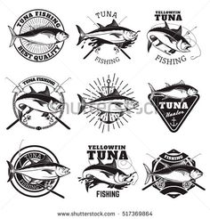 Tuna fishing labels isolated on white background. Tuna seafood.  Design elements for logo, emblem, sign, badge. Vector illustration.