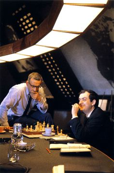 Chess. Kubrick vs. George C. Scott. On the set. Between takes. Dr. Strangelove. '64.