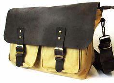Leather Canvas Bag Messenger Real Leather Vintage Style  14-inch L.  Briefcase  #ArtBreak #BriefcaseAttache