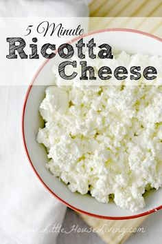 Homemade Ricotta Cheese Recipe. You only need 5 minutes and 2 ingredients to make this!