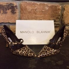 Manolo Blahnik leopard Mary Janes Authentic Manolo Blahnik patent leather, leopard-print Mary Janes. EU size 40 (women's US 9). Heel height 3 inches, stored always in original dust bag and box. Worn ONCE!  Originally priced $575, purchased at CUSP Manolo Blahnik Shoes Heels