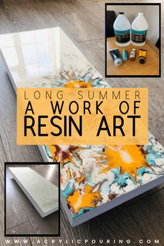 Summer, a Work of Resin Art Check out this acrylic pouring resin art with a theme that is perfect for the summer. Acrylic Painting Tips, Flow Painting, Acrylic Resin, Pour Painting, Acrylic Pouring, Acrylic Art, Resin Art, Acrylic Paintings, Wood Resin