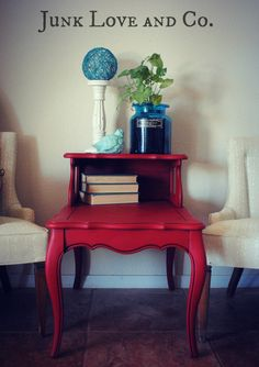 Vintage Red Side Table Night Stand French by JunkLoveandCo on Etsy, $145.00