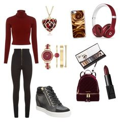 """""""Beauty in Red"""" by elazacevedo on Polyvore featuring Balmain, A.L.C., Beats by Dr. Dre, Anne Klein, Casetify, Neiman Marcus, MICHAEL Michael Kors, ALDO and NARS Cosmetics"""