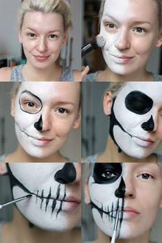 Tutorial Simple Half Skull Glam Make-up Halloween Make-up halloween makeup ideas half face - Halloween Makeup Visage Halloween, Maquillage Halloween Simple, Up Halloween, Diy Halloween Face Paint, Halloween Skeletons, Easy Halloween Costumes Scary, Halloween Masker, Terrifying Halloween, Halloween College