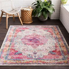 Aura Silk ASK-2300 Area Rug with colors Rose, Bright Pink, Bright Red, Beige, Medium Gray, Sky Blue, Bright Blue, Navy, Bright Yellow, Saffron, Dark Green, Lime. Machine Woven Polypropylene No Backing Updated Traditional made in Turkey