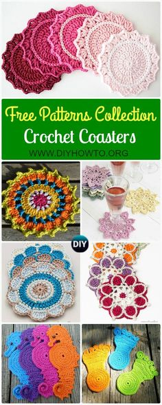 A Collection of easy crochet coasters free patterns: flower coaster, animal coaster, coaster applique / motif design via /diyhowto/