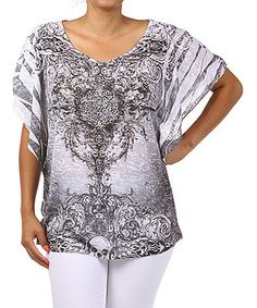 Another great find on #zulily! Brown & White Graphic Sublimation Cape-Sleeve Top - Plus #zulilyfinds