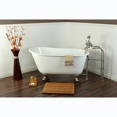 This cast-iron clawfoot tub retains heat better than most other materials to ensure your bath stays warm and relaxing. Thanks to its heavy, sturdy construction, this tub cuts down on the amount of vibrations you will feel while you bathe in luxury.