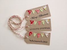 Christmas Bunting Tags stamped and sewn - set 3. $5.00, via Etsy.