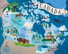 Travel and Trip infographic Canada map for Boundless Magazine - Sara Mulvanny Infographic Description Canada map for Boundless Magazine - Sara Mulvanny - Travel Maps, Travel Posters, Globe Travel, Pictorial Maps, Map Globe, Northwest Territories, Travel Illustration, London Illustration, Map Design