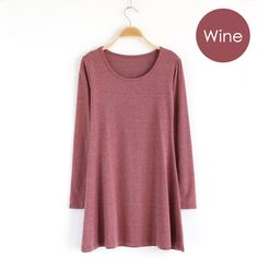 Cute & Comfy ~ Wine long-sleeve jersey knit dress.  Soft cotton knit casual easy-to-wear mini dress,
