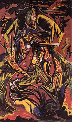 Jackson Pollock's Composition with Woman - 1934 - Oil on Masonite - Whereabouts unknown